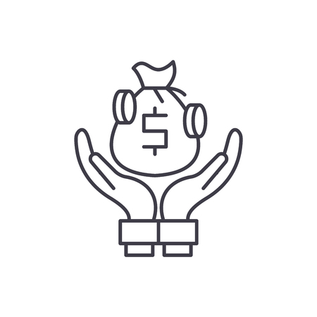 Bank deposits line icon concept. Bank deposits vector linear illustration, sign, symbol