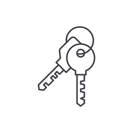 Apartment keys line icon concept. Apartment keys vector linear illustration, sign, symbol