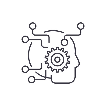Artificial intelligence line icon concept. Artificial intelligence vector linear illustration, sign, symbol Illustration