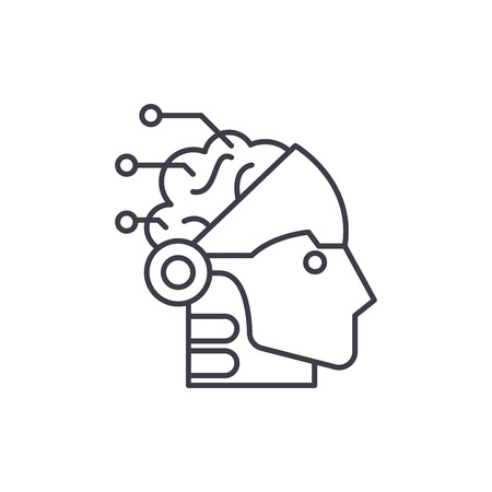 Artificial intelligence and robotics line icon concept. Artificial intelligence and robotics vector linear illustration, sign, symbol