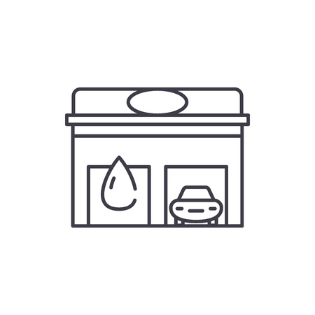Auto service line icon concept. Auto service vector linear illustration, sign, symbol