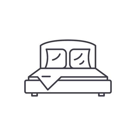 Bedroom line icon concept. Bedroom vector linear illustration, sign, symbol 向量圖像