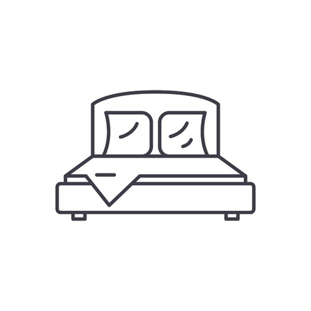 Bedroom line icon concept. Bedroom vector linear illustration, sign, symbol Illustration