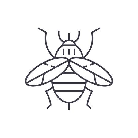 Bee line icon concept. Bee vector linear illustration, sign, symbol Ilustração
