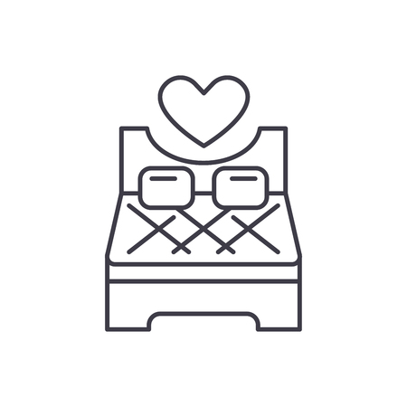 Bed for lovers line icon concept. Bed for lovers vector linear illustration, sign, symbol
