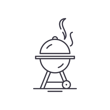 Bbq line icon concept. Bbq vector linear illustration, sign, symbol