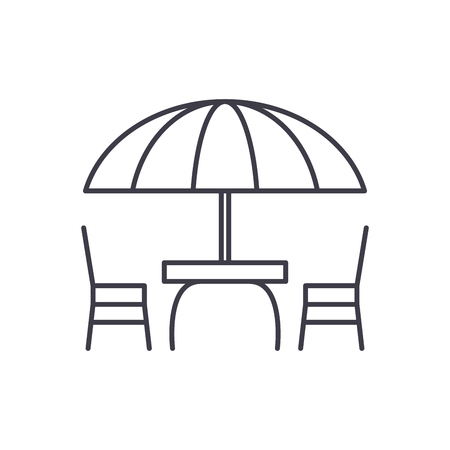 Beach table and chairs line icon concept. Beach table and chairs vector linear illustration, sign, symbol