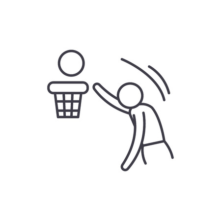 Basketball line icon concept. Basketball vector linear illustration, sign, symbol