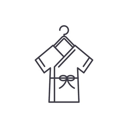 Bathrobe line icon concept. Bathrobe vector linear illustration, sign, symbol Ilustração