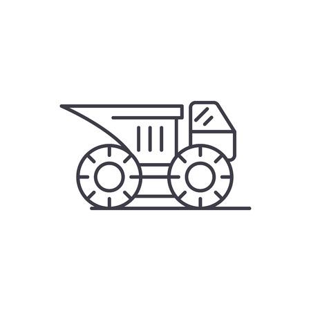 Big construction machine line icon concept. Big construction machine vector linear illustration, sign, symbol