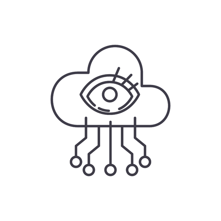 Artificial intelligence visualization line icon concept. Artificial intelligence visualization vector linear illustration, sign, symbol