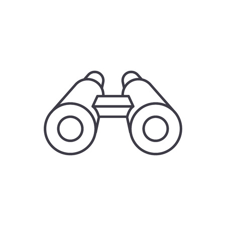 Binoculars line icon concept. Binoculars vector linear illustration, sign, symbol Vettoriali