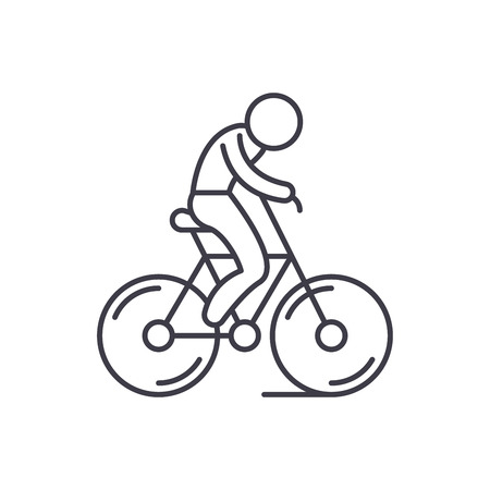 Biking line icon concept. Biking vector linear illustration, sign, symbol Illustration