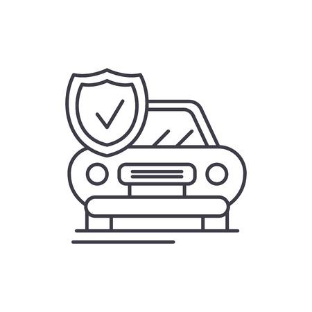 Auto insurance line icon concept. Auto insurance vector linear illustration, sign, symbol
