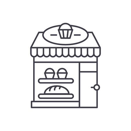 Bakery line icon concept. Bakery vector linear illustration, sign, symbol Illustration