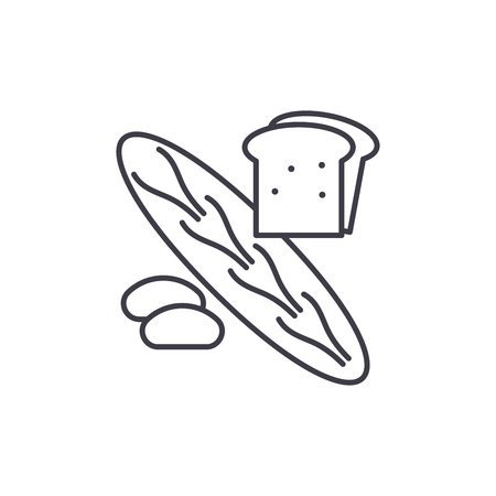 Bakery shop line icon concept. Bakery shop vector linear illustration, sign, symbol Illustration