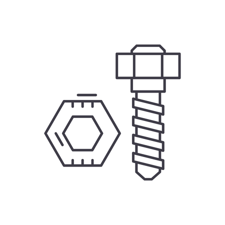 Bolt and nut line icon concept. Bolt and nut vector linear illustration, sign, symbol