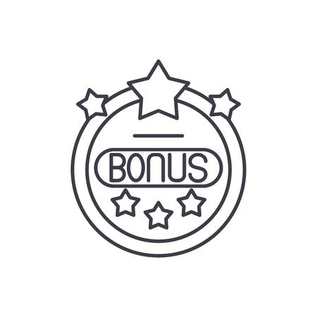 Bonus chip line icon concept. Bonus chip vector linear illustration, sign, symbol Illustration