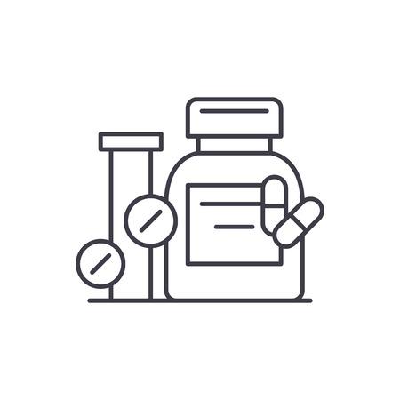 Biologisch aktive Zusatzstoffe Symbol Leitung Konzept. Biologisch aktive Zusatzstoffe Vektor lineare Illustration, Zeichen, Symbol