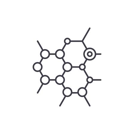 L'icône de la ligne biochimie concept. Illustration linéaire vectorielle de biochimie, signe, symbole Vecteurs
