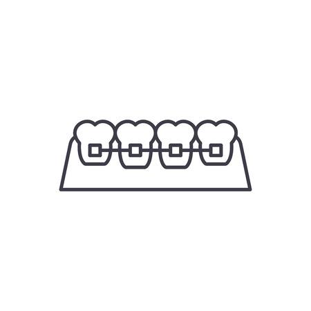 Braces line icon concept. Braces vector linear illustration, sign, symbol Illustration