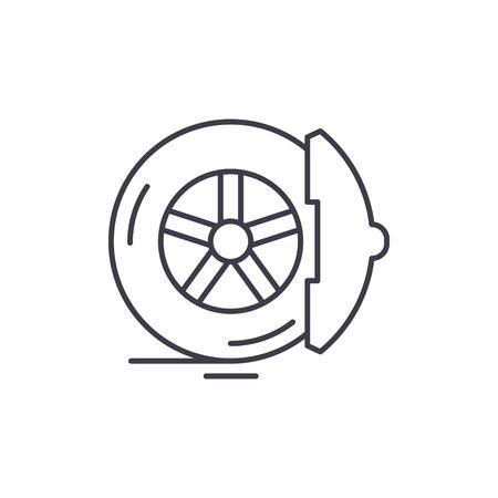 Brake pads line icon concept. Brake pads vector linear illustration, sign, symbol Foto de archivo - 127523181