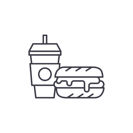 Breakfast, hamburger and coffee line icon concept. Breakfast, hamburger and coffee vector linear illustration, sign, symbol Illustration