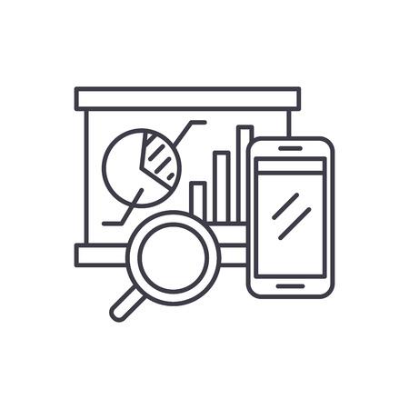 Balanced scorecard line icon concept. Balanced scorecard vector linear illustration, sign, symbol Illustration
