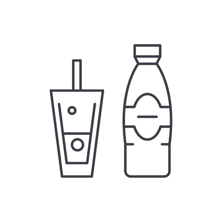 Bottle and glass of mineral water line icon concept. Bottle and glass of mineral water vector linear illustration, sign, symbol