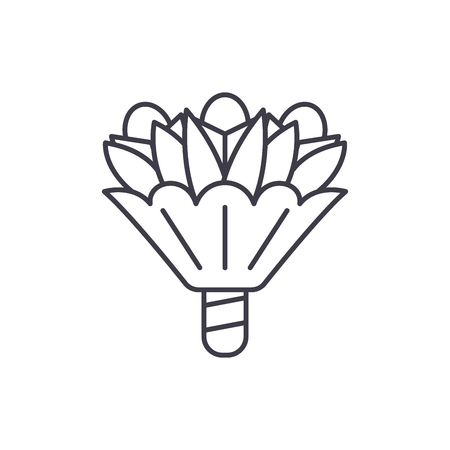 Bouquet of flowers line icon concept. Bouquet of flowers vector linear illustration, sign, symbol