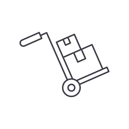 L'icône de la ligne de livraison encombrante concept. Illustration linéaire vectorielle de livraison encombrante, signe, symbole