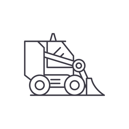 Bulldozer line icon concept. Bulldozer vector linear illustration, sign, symbol Illustration