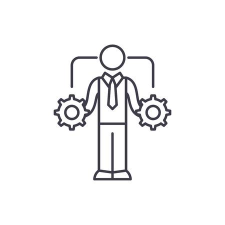 Geschäftliche Entscheidungsfindung Symbol Leitung Konzept. Lineare Vektorgrafik, Zeichen, Symbol für Geschäftsentscheidungen