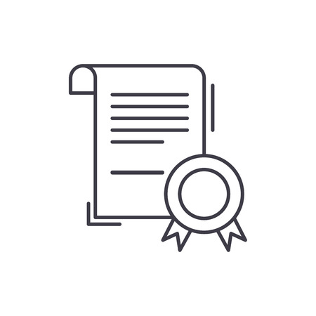 Business certificate line icon concept. Business certificate vector linear illustration, sign, symbol