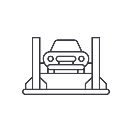 Car repair shop line icon concept. Car repair shop vector linear illustration, sign, symbol Illustration