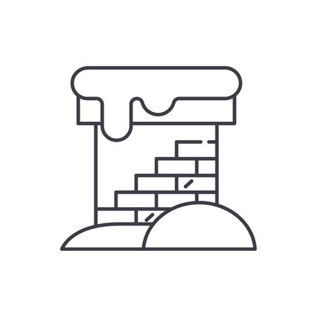 Brick chimney line icon concept. Brick chimney vector linear illustration, sign, symbol