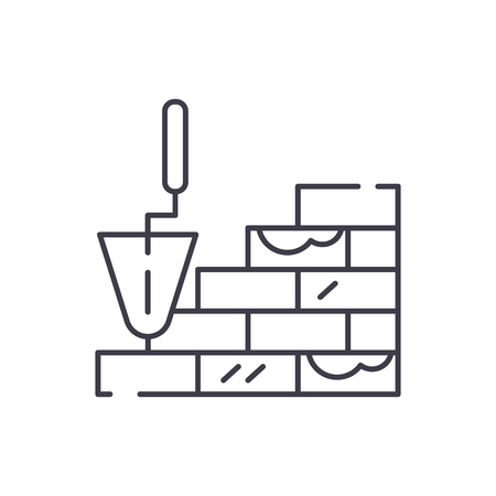 Brick laying line icon concept. Brick laying vector linear illustration, sign, symbol