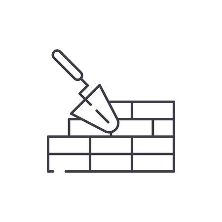 Brickwork line icon concept. Brickwork vector linear illustration, sign, symbol