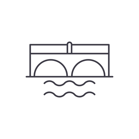 Bridge over river line icon concept. Bridge over river vector linear illustration, sign, symbol 스톡 콘텐츠 - 127523239