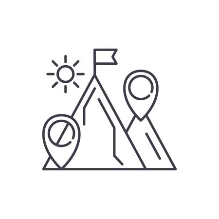 Business purpose line icon concept. Business purpose vector linear illustration, sign, symbol Illustration