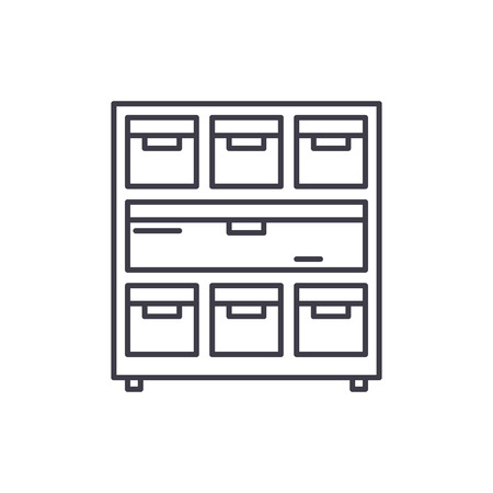 Cabinet with documents line icon concept. Cabinet with documents vector linear illustration, sign, symbol Archivio Fotografico - 127523244