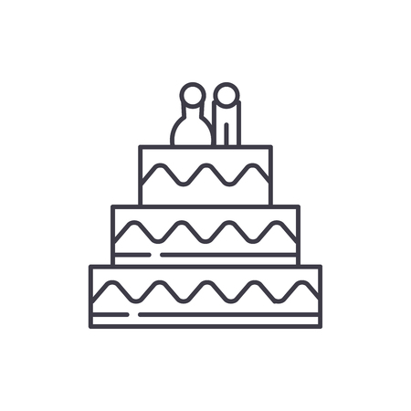 Cake for lovers line icon concept. Cake for lovers vector linear illustration, sign, symbol 스톡 콘텐츠 - 127523248