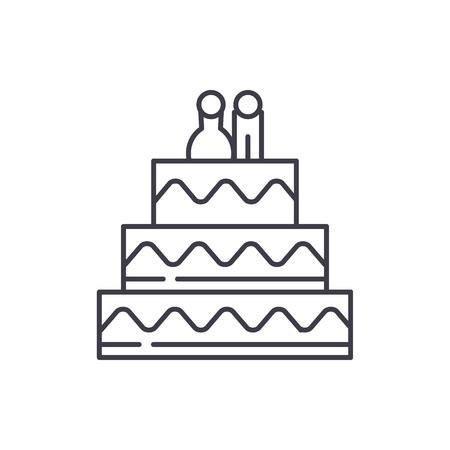Kuchen für Liebhaber Symbol Leitung Konzept. Kuchen für Liebhaber Vektor lineare Illustration, Zeichen, Symbol,