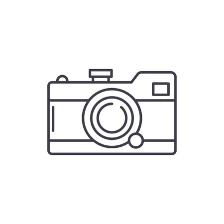 Camera line icon concept. Camera vector linear illustration, sign, symbol