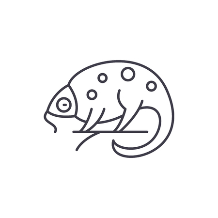 Chameleon line icon concept. Chameleon vector linear illustration, sign, symbol