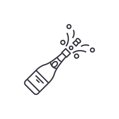 Champagne opening line icon concept. Champagne opening vector linear illustration, sign, symbol