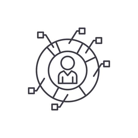 L'icône de la ligne des mesures du personnel concept. Métriques du personnel illustration linéaire vectorielle, signe, symbole Vecteurs