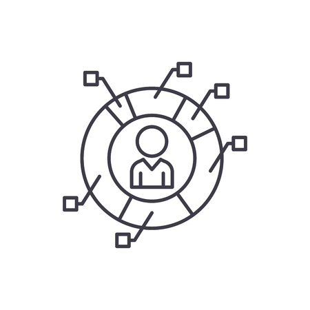 Staff metrics line icon concept. Staff metrics vector linear illustration, sign, symbol Illustration