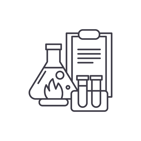 Chemical experiments line icon concept. Chemical experiments vector linear illustration, sign, symbol