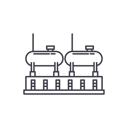 Chemical production line icon concept. Chemical production vector linear illustration, sign, symbol